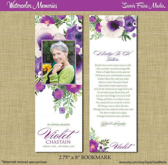 Funeral memorial bookmark and prayer card printable for Funeral bookmarks template free