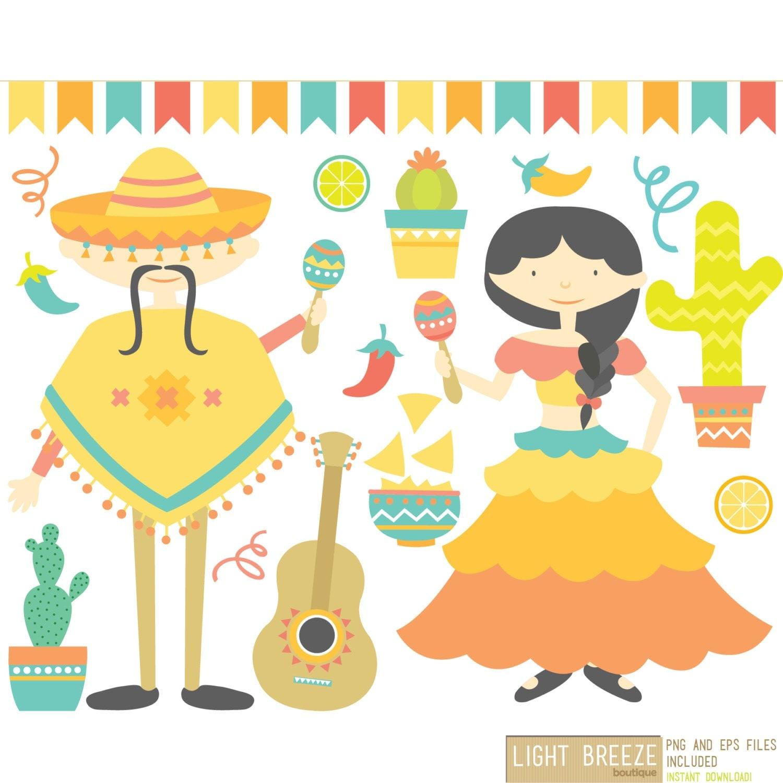 Mexico Mexican Fiesta Digital Clipart & Vector Set
