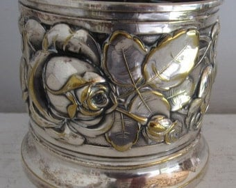 art nouveau silver plated bottle holder design black cherries