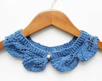 Blue Azure Knitted Leaves Collar, For Her, Gift for Her, Handmade, Gift Ideas, Ready to Ship
