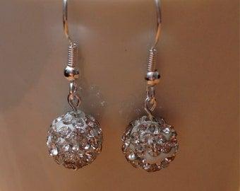 Silver disco ball stud or dangley earrings