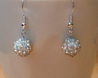 Crystal AB disco ball dangley earrings