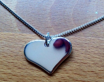 Glossy sterling silver plated heart necklace