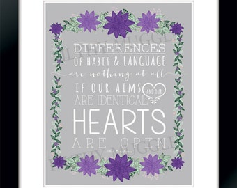Differences of habit and language Hearts Open Goblet of Fire Dumbledore Harry Potter Quote Purple Print Instant Download Floral