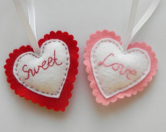 Felt heart ornament, custom ornaments, valentine's day decor, valentines day gift,  red pink hearts, wedding favors, christmas ornaments