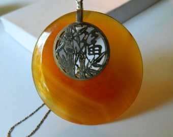Asian motif- agate Pendant with Chain
