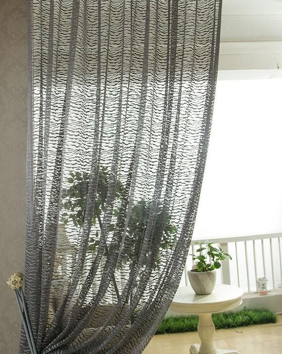 dark grey jacquard net sheer curtain voile panel one custom made