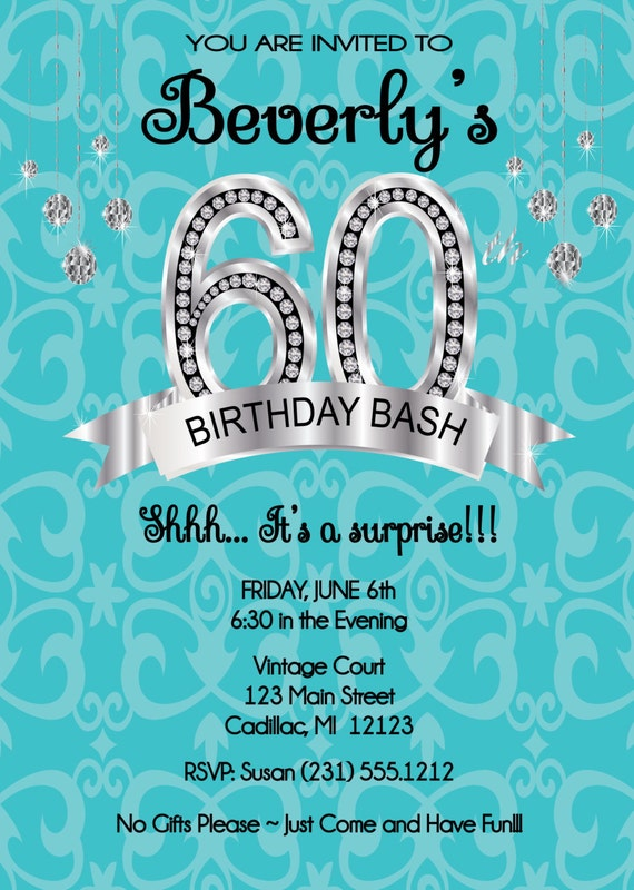 60th Birthday Invitation DIY or Printable by FabPartyPrints