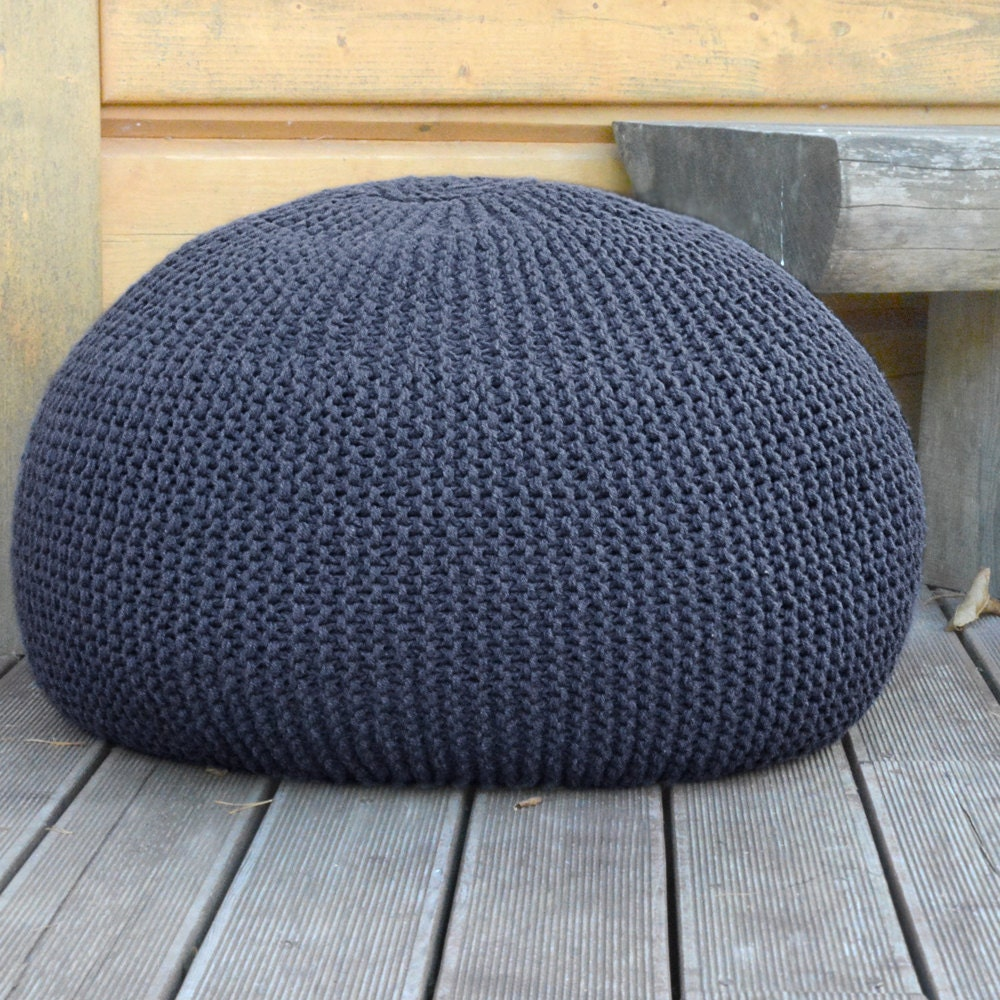 tricot laine bean bag pouf gris fonc bleu pouf pouf la. Black Bedroom Furniture Sets. Home Design Ideas