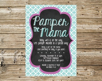 Purple and Teal Pamper the Mama baby shower invitation