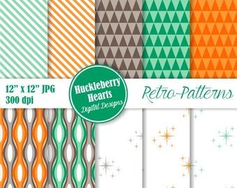 80% OFF SALE Retro Patterns Digital Paper, Retro Scrapbook Paper, Vintage, Mod, 60s