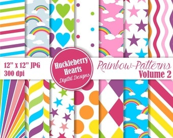 80% OFF SALE Rainbow Patterns Digital Scrapbook Paper Volume 2, Rainbow Paper, Bright, Colorful, Backgrounds