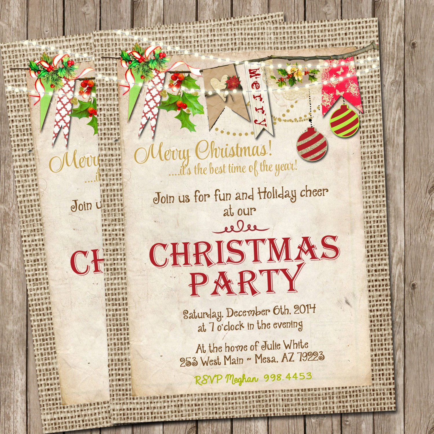 It's just an image of Punchy Free Printable Christmas Party Invitations