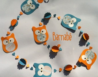 Owl garland : Barnabé - six owls and flowers 3 d measure 4,75ft  perfect for kidroom - orange and blue