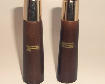 Vintage Mid Century Modern Salt & Pepper Shakers, Wood, Original Box
