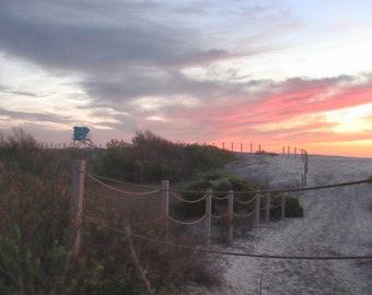 Dunes Trail, Lifeguard Tower, Purple, Pink, Sunset, Sand, Ocean, South Ponto Beach, Carlsbad, California