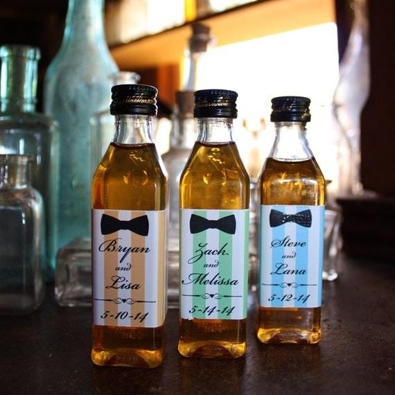 25 Vinyl Wrapped mini liquor bottle labels Wedding Favor