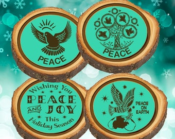 Elm Log Rounds Wish for Peace Ornaments and/or Coasters