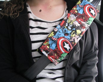 Marvel Comic Seatbelt Cover, Car Accessorie, steering wheel cover, geekery, hulk, spiderman, iron man, wolverine, captain America, Avengers