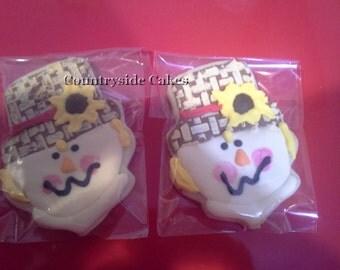 Cute Scarecrow Thanksgiving Decorated Sugar Cookies  -1 dozen