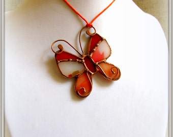 Stained glass butterfly pendant