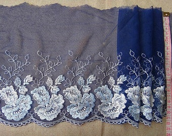 Lace trim Dark Blue Generous Floral Embroidered Lace Trim DIY Handmade Accessory 7.87 inches wide. 2 yards E8027