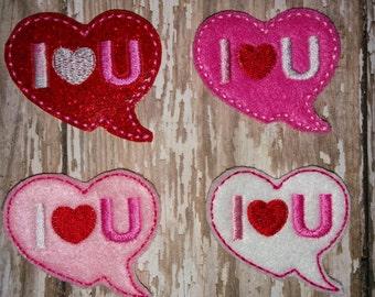 Set of 4 Heart I Love You Conversation Bubble Valentines Valentine Day Feltie Felt Embellishment Bow! Birthday Party