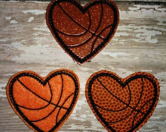 Set of 4 Basketball Hearts Felties Heart Love Sports Ball Vinyl Glitter Feltie Embellishment Bow! Applique Embroidery Birthday Party Planner