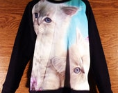 Loose T-Shirt Awesome Animal Sweater Cats Shirt Teen Women Crow neck teen Fashion long Sleeve Jumper Winter cold Size M/L