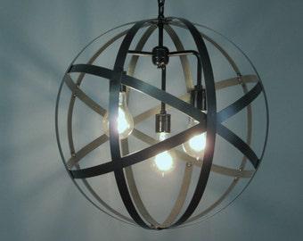 """Industrial Orb Ceiling Light Sphere 18"""" Diameter Wine Barrel Ring 3 Light  Edison Bulbs Black"""