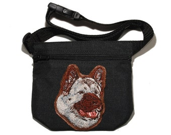American Akita dog treat bag / dog treat pouch. For dog shows, dog walking and training. Great gift for dog lovers.