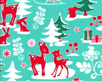 Yule Critters Holiday Fabric in Aqua for Michael Miller Fabrics