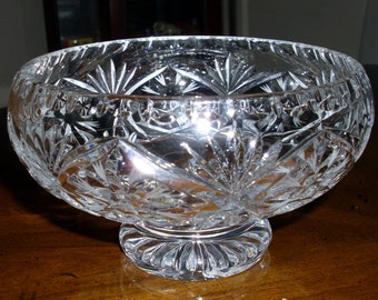 Crystal Bowl Candy Dish Deep Cut Glass Pedestal. Looks to be European. Nice Condition
