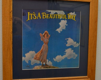 Its a Beautiful Day <by> Its a Beautiful Day album in an oak frame with blue matte, vinyl music art, framed music, wall art, rec room art