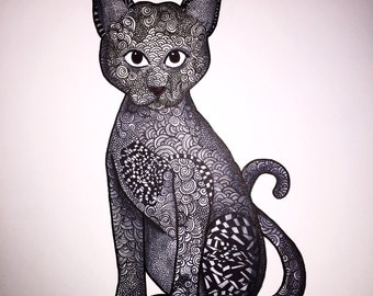 Zentangle cat that is an original (not a print).  Every piece of art is custom created after order is placed. Part of profits go to charity.