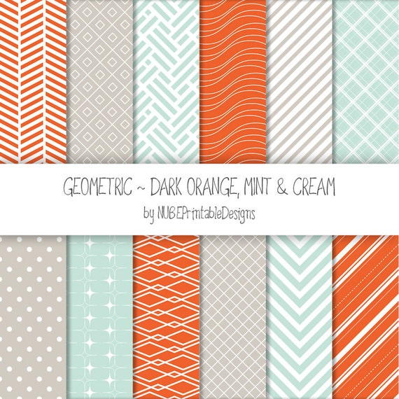 Geometric Digital Papers: Dark Orange, Mint And Cream