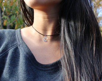 Tiny Moon Choker silver crescent moon choker gift for women cord necklace