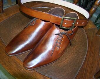 Mens leather side oxford dress shoe