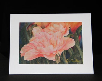 Tulip Note Card, Watercolor Art, Pink tulips, Blank Note Card, Hostess Gift Card