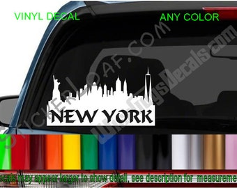 NEW YORK CITY city Skyline Car Decal sillhouette nyc Freedom Tower cityscape skyscrapers car truck window Laptop Tablet