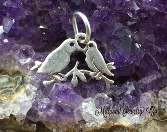 Love Birds Charm, Lovebirds Charm, Bird Charm, Bird Lover, Sterling Silver Charm, Jewelry Supplies, PS0672