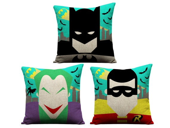 Justice League Throw Pillows : Batman pillow dc comics robin joker batman by GEEKandtheCHIC