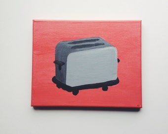 """8""""x10"""" Pink and Gray Toaster Painting on Stretched Canvas."""