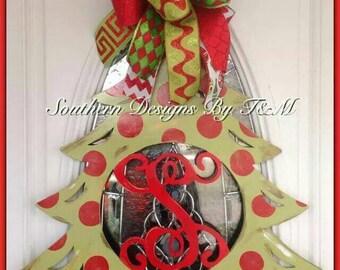 Christmas tree initial door hanger, wall hanger, wall decor
