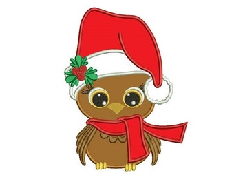 Baby Bird wearing cute Santa hat Christmas Applique Machine Embroidery Digitized Design Pattern  - instant download - 4x4 , 5x7, 6x10 -hoops