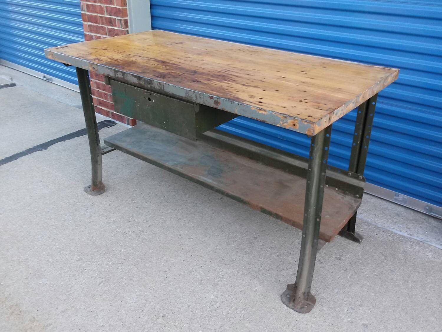 vintage industrial lyon brand work bench table with