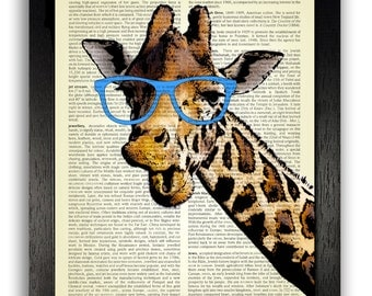 Wall Art, Giraffe in Geeky Blue Glasses Hipster Decor, Funny Gift Men Boys, Dictionary Print, Giraffe Poster, Illustration Print Home Art