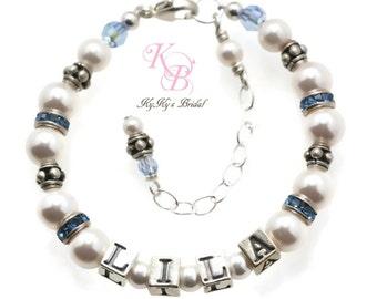 Personalized Baby Bracelet, Keepsake Jewelry, Newborn Photo Prop, Birthstone Bracelet, Baby Shower Gift, Little Girl Jewelry, Baby Gift