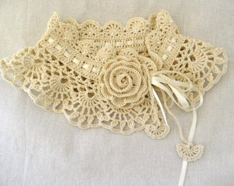 Art Deco Crochet Choker/Necklace With Rose/Romantic Ivory Collar