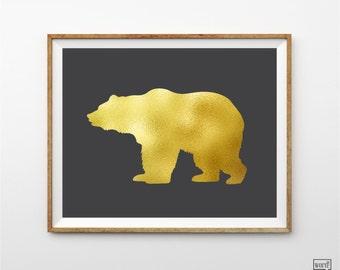 Matte Gold Bear Print, Nursery Decor, Bear Art Print, Gold Wall Art, Animal Art Print, Gold Wall Decor, Bedroom wall art, Animal Decor